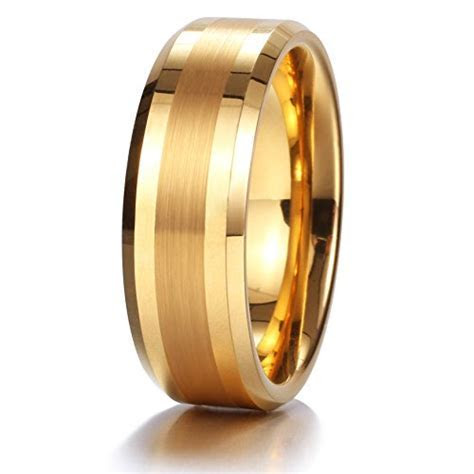 King Will GOLD 8mm Gold Tungsten Carbide Ring Brushed