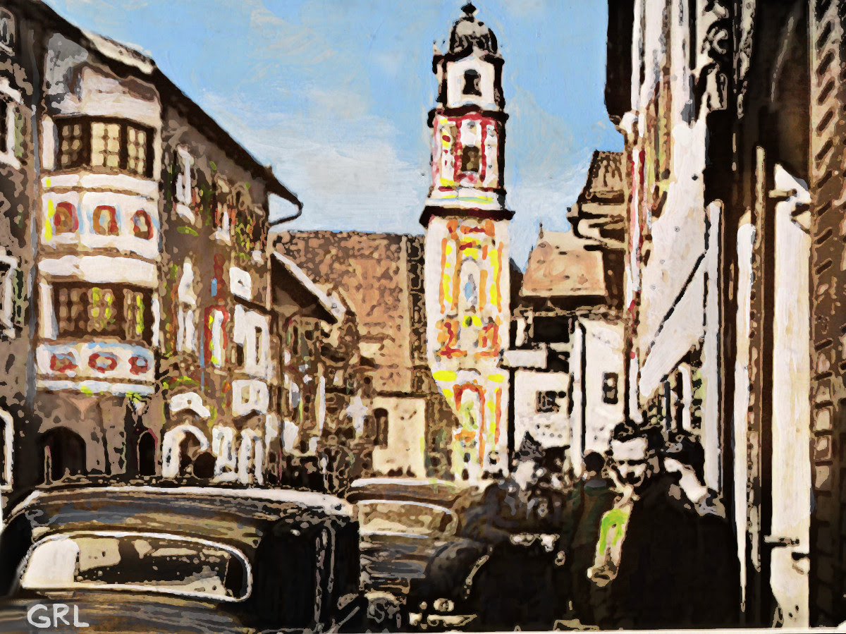 Street Scene, Mittenwald. $13 to $24 small, medium-size, prints. Free downloads, wallpaper, GrlFineArt. Fine art work. These art works are based on my own original black and white photos, taken back in the 1950's.  For fine art decor, fineart, europe, rome, bavaria. multimedia classical traditional modern acrylic oil painting paintings prints.