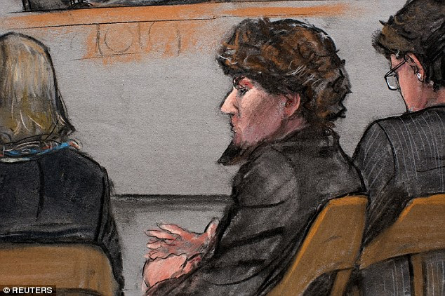 In court:A courtroom sketch shows accused Boston Marathon bomber Dzhokhar Tsarnaev during closing arguments in his trial at the federal courthouse in Boston on Monday