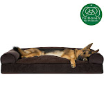 FurHaven Pet Dog Bed   Faux Fleece & Chenille Soft Woven Pillow Sofa-Style Couch Pet Bed For Dogs & Cats (Coffee, Jumbo)