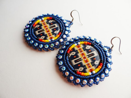 Blue Pendleton Print Beaded Earrings by ndnchick on Etsy