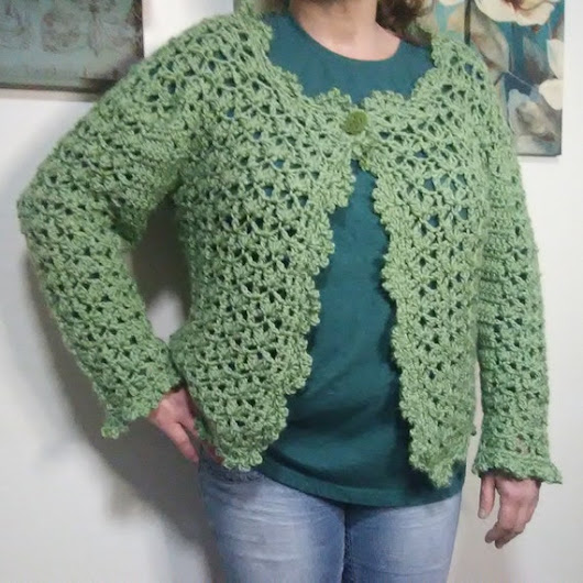Crochet Green Lacy Cardigan SweaterPlus Size Lacy Green | Etsy