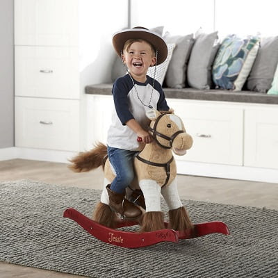 The Personalized Animated Rocking Horse - makes realistic equine sounds and movements as they ride
