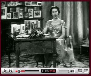 Pantalla del vídeo de la felicitación de Isabel II en 1957.