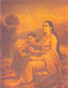 Raja Ravi Varma (1848 - 1906) - Shakuntala_Patralekhan, H.H. The Maharaja of Travancore, Kaudiar Palace, Thiruvananthapuram