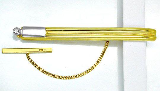 Foto 1, Top-Brillant-Krawattenschieber 14K/585 Bicolor Shop Neu, S8233