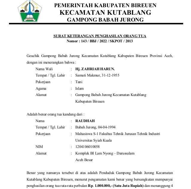 Contoh Surat Pernyataan Wali Murid - Contoh Alkali