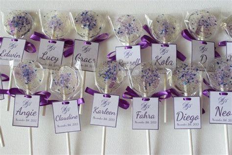 100 Lollipop Place Card Favors, Purple Wedding Favor