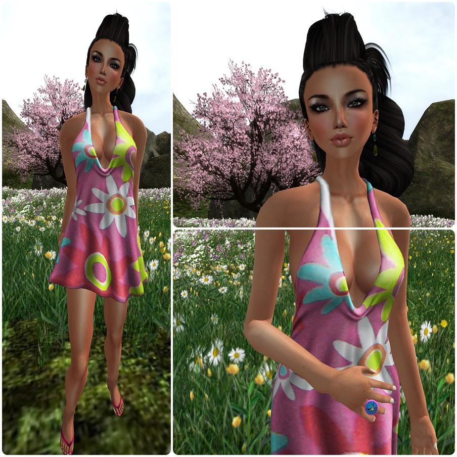 Fable-Blaydz - Spring Fling Halter Dress feat N-core Flat Barefeet & Flip-Flops