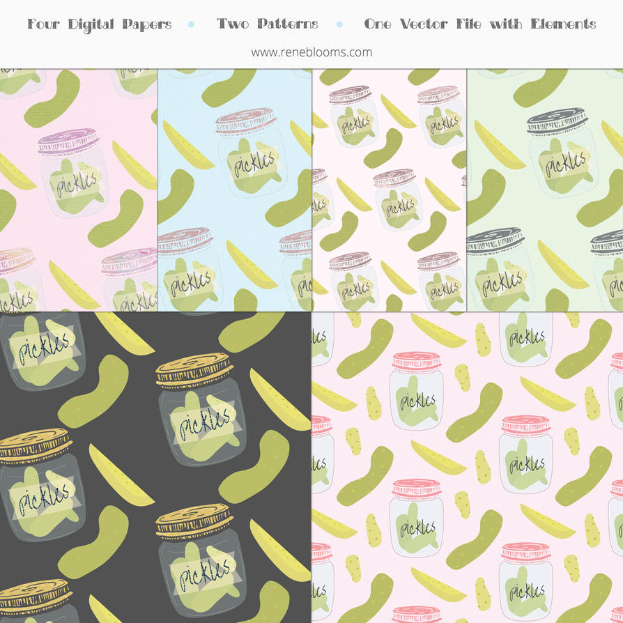 Pickle Papers and Patterns Vector by SunnyFunLane