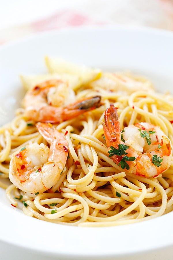 Image result for spaghetti aglio olio prawn