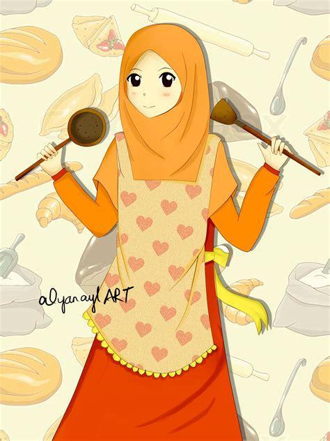 pin oleh asma ridha  memasak   hijab cartoon