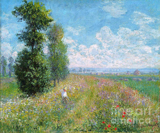 Meadow With Poplars by Camille Monet