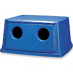 Glutton Series Bottle and Can Recycling Top, Rectangular, Canopy, 56 gal, Blue