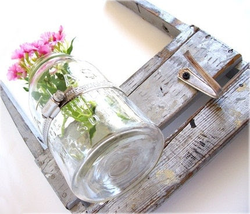 METALLIC SILVER BLUE wall vase RETRO oldnewagain