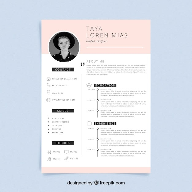Curriculum Template with Minimalist Style Free Vector
