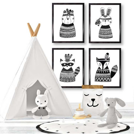 Tribal Animals wall art/ Monochrome nursery/ by EllenCrimiTrent