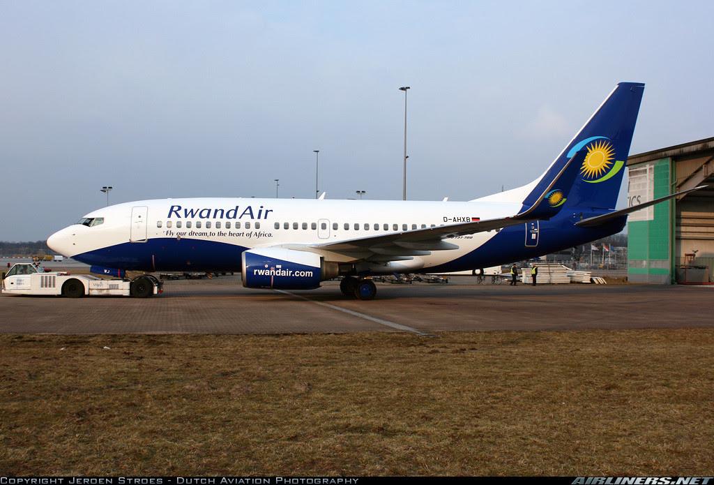 Rwandair's 737-700 in Eindhoven