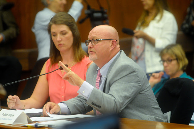 <p>Patrick Hodgins, director of safety and security for Plains All American Pipeline, answers questions from local lawmakers about the Refugio oil spill during a joint meeting held Friday in Santa Barbara.</p>
