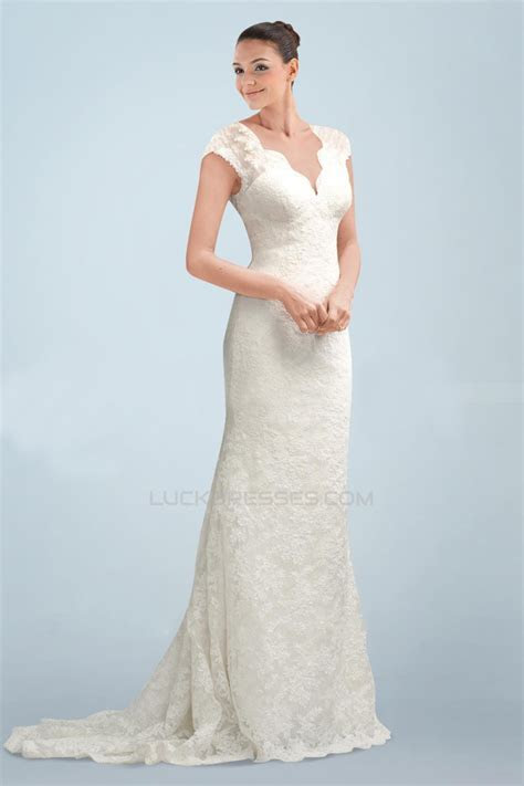 Elegant V neck Short Sleeves Lace Bridal Wedding Dresses
