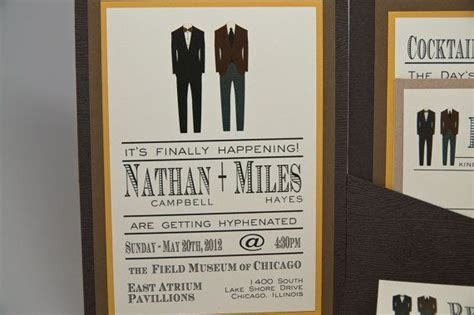 Masculine Wedding Invitations featuring two suits NATHAN