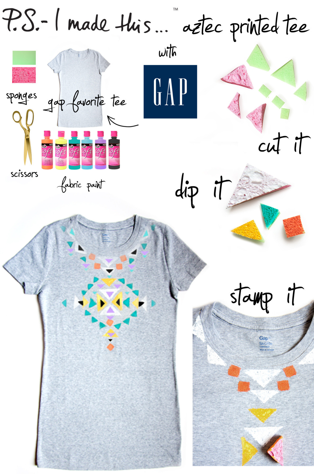 "There's nothing more expressive than music and fashion…and when the two collide, inspiration and excitement thrive.  If you're lucky enough to attend this weekend's Bonnaroo Music Festival in Manchester, Tennessee, swing by Gap's late-night ""Be Bright At Night"" event to get crafty and personalize tees. Grab bold paints, patterns, stencils and more to discover why T-I-Y is the new D-I-Y! Whether you're attending a music fest or rockin' out to your own playlist at home, get into the Summer DIY spirit by grabbing a Gap Favorite Tee and create an Aztec print inspired look. Cut up kitchen sponges in various sized triangles, dip into fabric paint and stamp your heart out. P.S.- plan out your pattern before you start on a piece of paper or fabric scrap.  Let dry completely, and then you're ready to live by the words of The Beach Boys…""T-Shirts, cut-offs and a pair of thongs - we've been having fun all Summer long""."