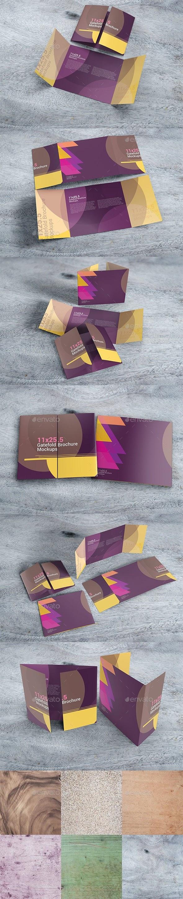 Super Print Mockups - 11×25.5 Gatefold Brochure Mockups