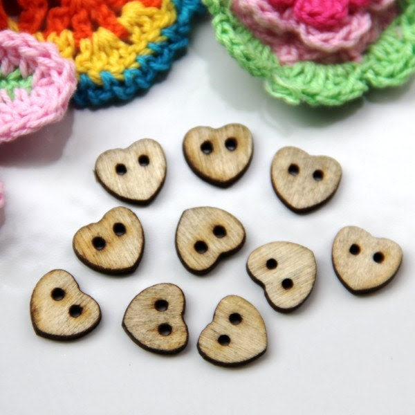 9 Wood buttons, Heart Shape, 10mm, for button jewelry, scrapbooking, bags, crafts