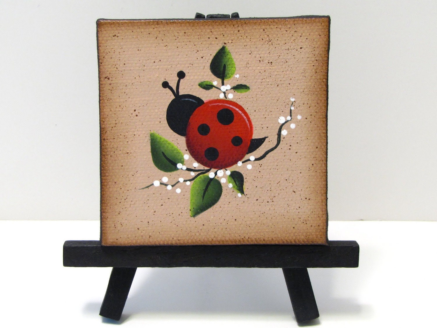 Ladybug Mini Canvas on Easel Handpainted Home by ToleTreasures