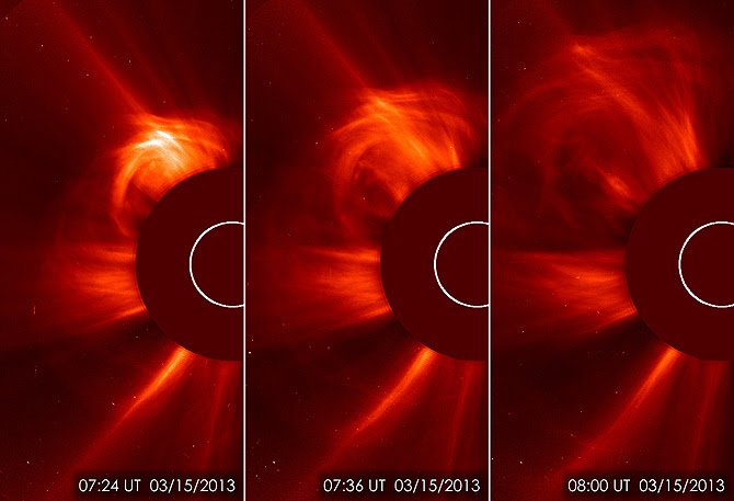 SOHO captured these images of the sun spitting out a coronal mass ejection (CME) on March 15, 2013, from 3:24 to 4:00 a.m. EDT.
