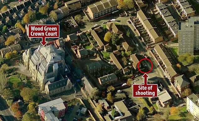 Police are believed to have been tipped off that an attempt would be made to free Turkish nationals Erwin Amoyaw-Gyamfi and Erun Izzet as they attended Wood Green Crown Court (left) to be sentenced for carjacking and firearms offences. This graphic shows both the court and the site of the shooting on nearby Bracknell Close