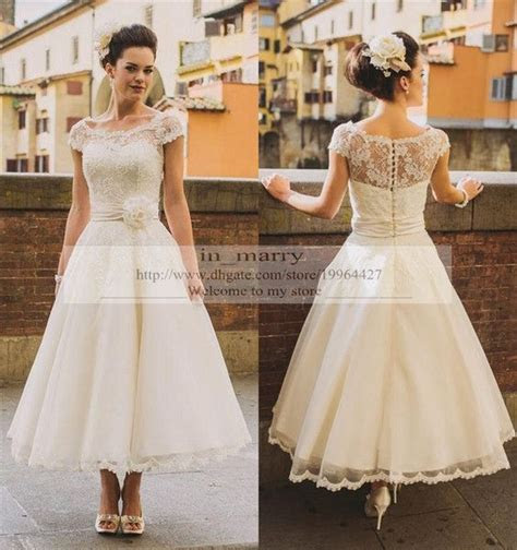 Tea Length Vintage Lace Plus Size Wedding Dresses 2017 A