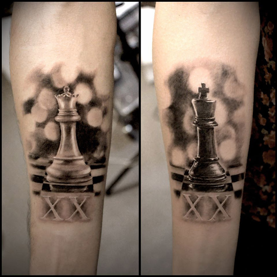 Realistic King Queen Couples Chess Pieces Best Tattoo Design Ideas