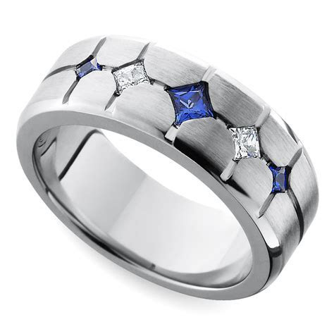 Cross Cut Satin Sapphire and Diamond Men's Wedding Ring in