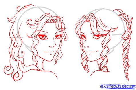 draw curly hair draw curls step  step anime