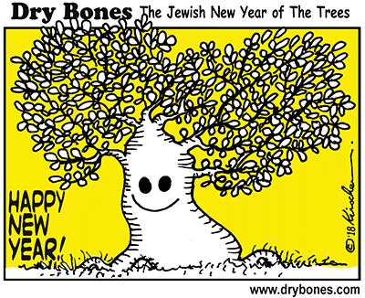 Dry Bones cartoon, Trees, Tu BiShvat, Tu B'Shvat, New Year of The Trees, holiday, Jewish culture, Jewish,