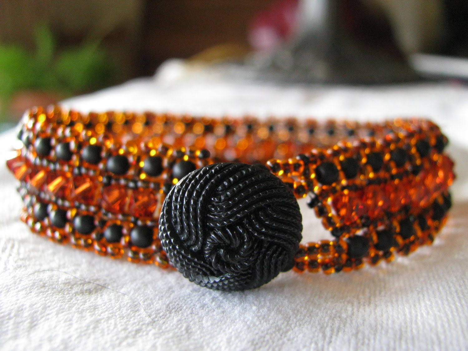 Red Orange Black Woven Bead Bracelet, Smoldering Embers, with Button Clasp
