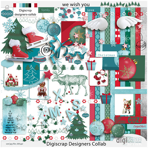 Kerstpuzel 2016 - Digiscrap Digitaal scrappen - designercollab - we wish you