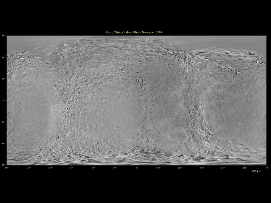 global digital map of Saturn's moon Rhea
