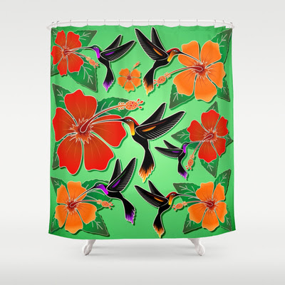 Hummingbird and Hibiscus Batik Pattern - SHOWER CURTAIN  - $68.00