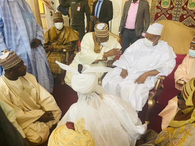Photos of State Governors, others at Emir of Kano's palace to seek marriage for President Buhari's son, Yusuf