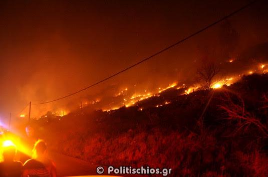 Χίος: Συνεχίζεται η μάχη με τη φωτιά, φόβος αναζωπυρώσεων