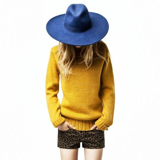 Le Fashion Blog Mustard Yellow Knit Sweater Blue Fedora Hat Leopard Print Shorts Blonde Ombre Hair color Beachy Waves Wavy Hair Mix Zara 2011 Lookbook  2 photo Le-Fashion-Blog-Mustard-Sweater-Blue-Hat-Leopard-Shorts-Mix-Zara-2011-Look-2.jpeg