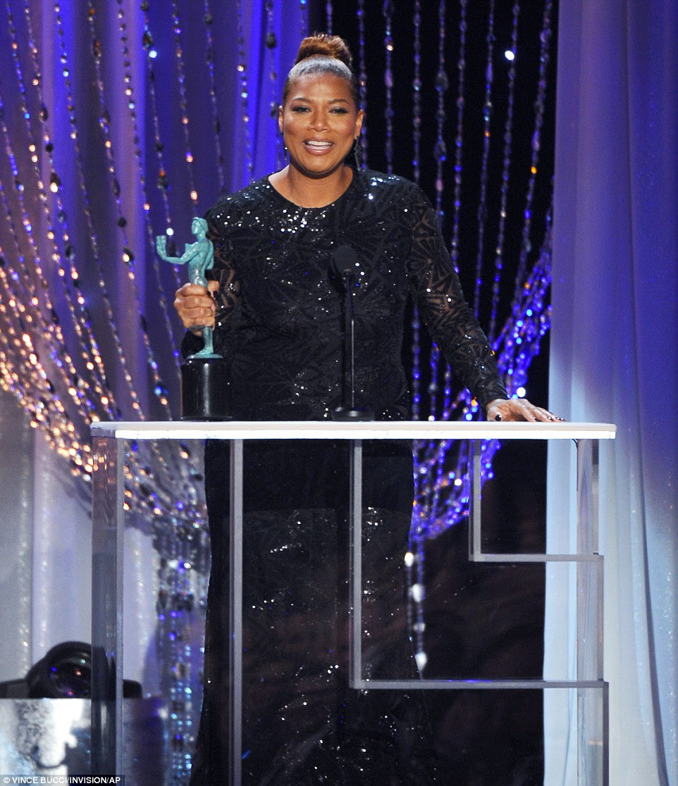 A triumphant Queen Latifah won the award for Outstanding Performance by an Actress in a TV Movie or Miniseries for the HBO film Bessie