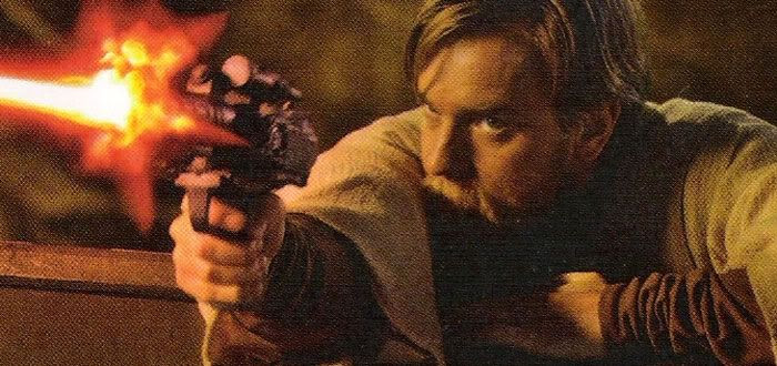 Obi-Wan fires at Grievous with the General's own blaster.