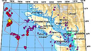 Earthquakes Canada charted earthquakes around Vancouver Island over the past 30 days.