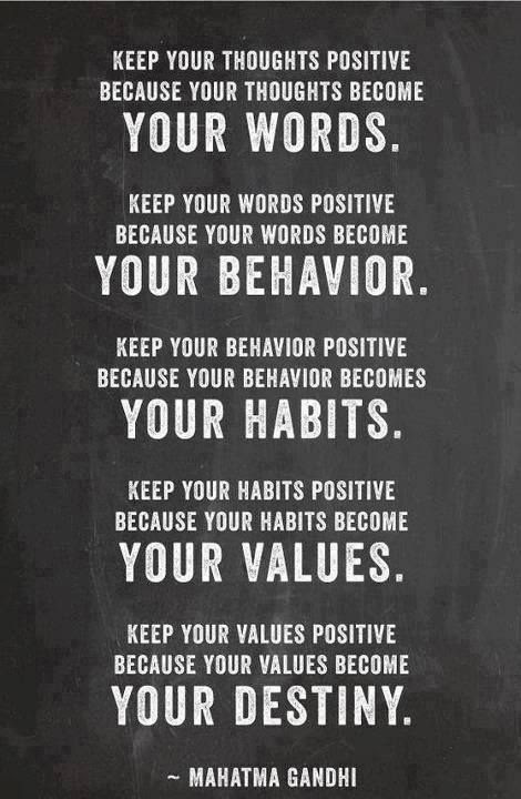 Keep your thoughts, words, behavior, habits, values positive...