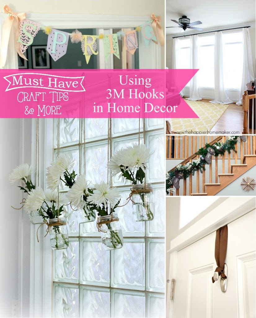 Must Have Craft Tips: Use 3M Command Hooks to hang awkard home decor items!