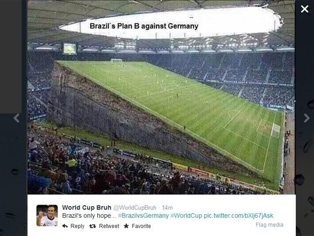 Montagem sugere que o Brasil 'esconda' o campo do Mineirão para evitar mais vexame contra a Alemanha (Foto: Reprodução/Twitter/WorldCupBruh)