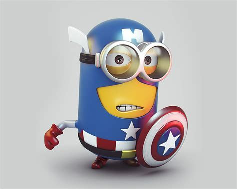 Download Minion Captain America 2400 x 1920 Wallpapers